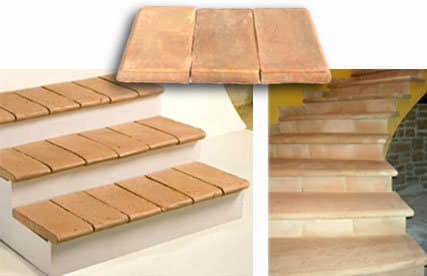 Gradino in cotto fatto a mano per scala da interno e esternoof
