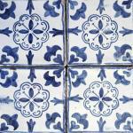Smalto decorato 15x15 decoro blu