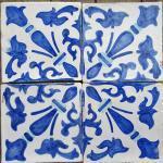 Smalto decorato 15x15 decoro azzurro
